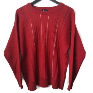 Gabicci men red wool blend fitted pullover sweater